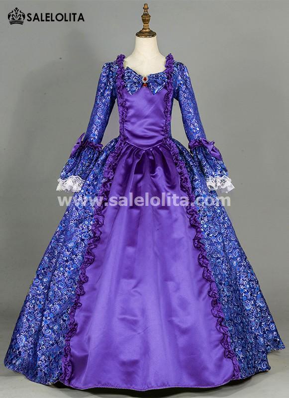 Renaissance Blue Floral Patterns Victorian Ball Gown
