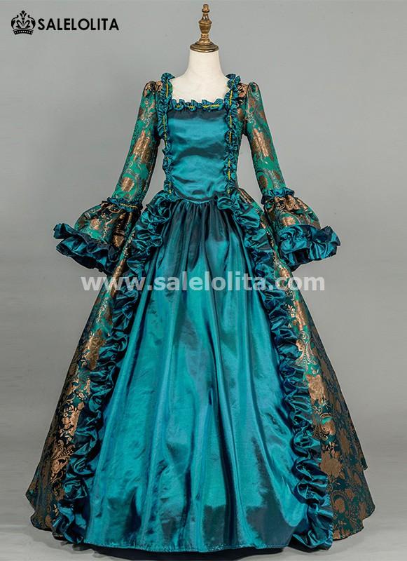 Blue Renaissance Brocade Antique Victorian Gown Dress